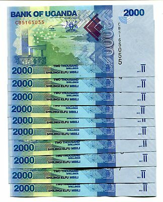 UGANDA 2000 SHILLINGS 2017 P-50d UNC LOT 10 PCS
