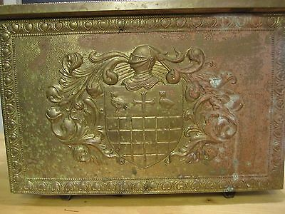 All Metal Embossed Copper/Brass Coal Kindling Box Coat of Arms Knights