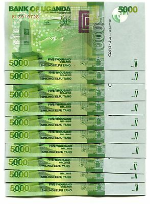 UGANDA 5000 SHILLINGS 2017 P-51e UNC LOT 10 PCS
