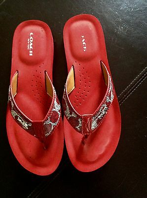 "Coach ""Judy"" Red Logo Ladies Flip Flop Size 8.5B"