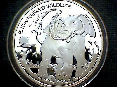 Congo 2007 10 Franc, Endangered Wildlife, Elefant Silver Plated Proof In Capsule