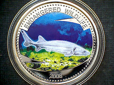 Palau 2008 Dollar, Sturgeon, Coloured Proof Coin In Capsule