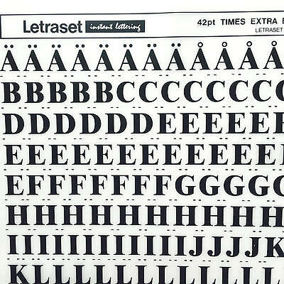 NEW & UNUSED SHEET LETRASET RUB ON TRANSFER LETTERS 42pt Times Extra Bold 11.3mm