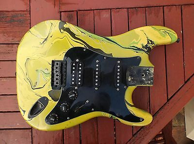 Fully Loaded Green/Black Strat Style Swirl Body with pickups, bridge - project