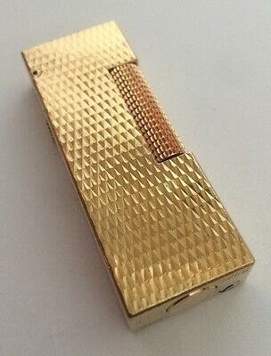 Dunhill Gold 'Cross Hatch' Lighter - Super Condition & Fully Serviced