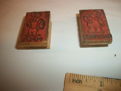 2 vintage rubber wood stamps comic cartoon Popeye ROUGHHOUSE