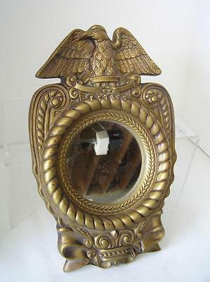 Vintage Gilt AMERICAN FEDERAL STYLE EAGLE Round Composition Wall Mirror 13.5""