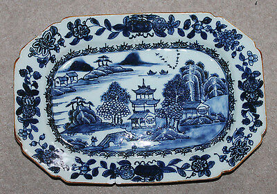 A 26.9cm Chinese Kangxi Hand drawing Underglazed B/W Meat Plate Riverted A/F