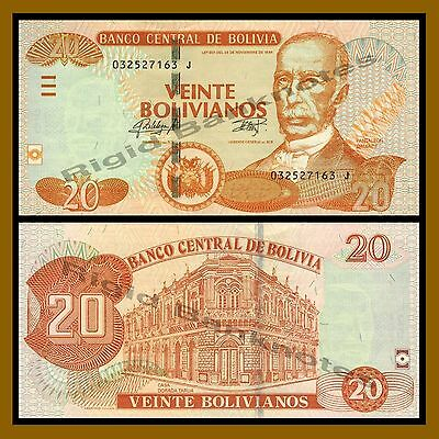 Combine FREE Low Shipping L. 1986 Bolivia 20 Bolivianos P New 2018 UNC