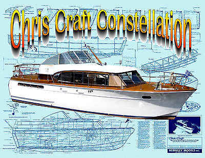 """build 26"""" Scale Chris Craft Constellation Copy Berkeley  Full size Printed plans"""