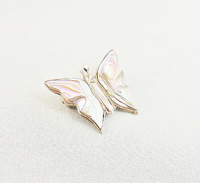 Vintage Signed Mexican Sterling Abalone Inlaid Butterfly Brooch