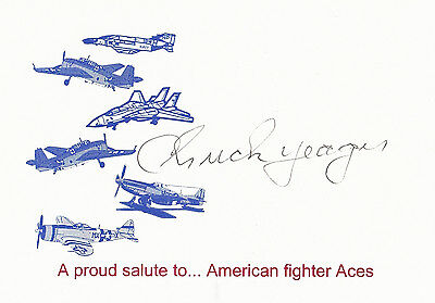 Test Pilot Chuck Yeager Signed Card Bob Hoover Scott Crossfield Bell-X1 P-51 F-4