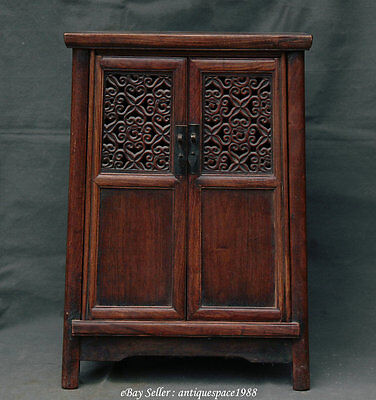 "23"" Antique China Huanghuali Wood Hollow Out Classical Furniture Cabinet Cupboar"