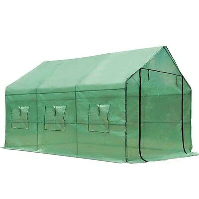 NEW 3.5 x 2M Spacious Sturdy Steel Frame Garden Greenhouse w Green PE Mesh Cover