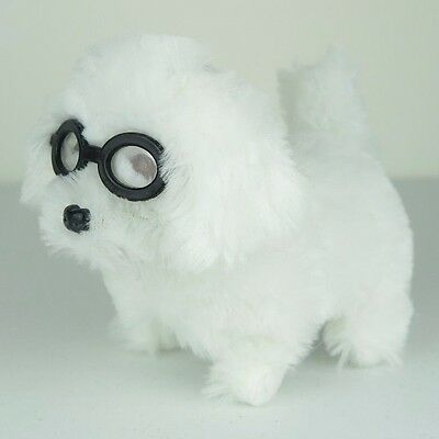 """Cute Shaggy White Maltese Puppy Dog in Shades Barks Walks Wags Tail 5""""L New"""