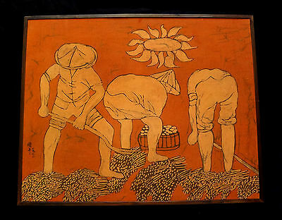 "60's JAPANESE BATIK PAINTING ""FIELD WORKERS HARVESTING"" by UNKNOWN ARTIST(shed)"
