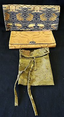 3x 19/20CT Japanese Silk Brocade Purses (Par)