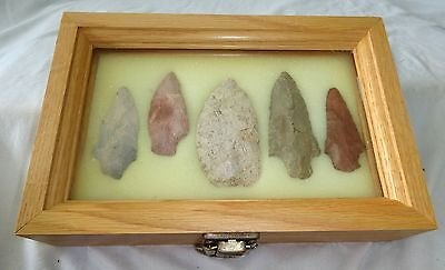 5x Native American Arrowheads in Steel's Display Case (Ver) Case #58