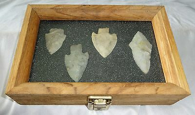 4x Native American Arrowheads in Steel's Display Case (Ver) Case #45