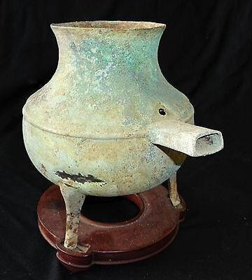 2BC Chinese Han Dynasty Bronze Tripod Pot w. Handle on Stand - Dented (Geo)