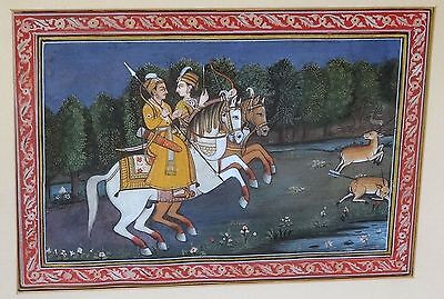 """19CT Indian Framed Rajput Painting """"Male & Female Hunter"""" by unsigned (Par)"""