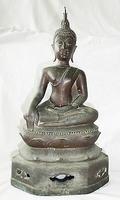 16CT Northern Thai Lan Na/Chieng Sen School Seated Bronze Buddha Sculpture (Je)