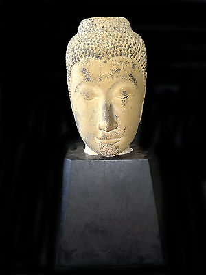 15/16CT Thai Ayuthya Period Sandstone Buddha Head on Heavy Wooden Base (Lol)