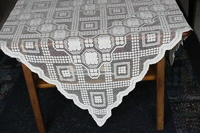 Vintage Cream Cotton Knotted Lace TABLECLOTH 112x106cm #82