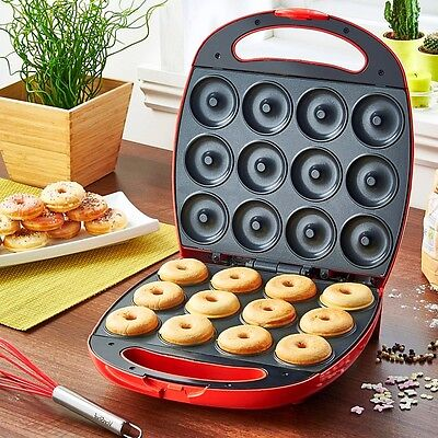 Mini Doughnut Maker Electric Snack Machine Home Kitchen Baking Appliance Red New