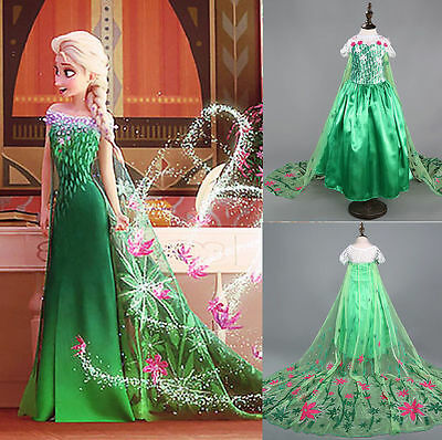 Frozen Costume Fever Inspired Green Maxi Split Elsa Dress Flower Princess Dress.