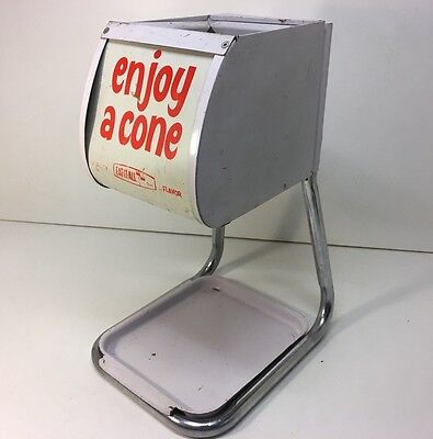 Vintage Enjoy A Cone Ice Cream Holder Dispenser Eat-It-All Store Display Metal