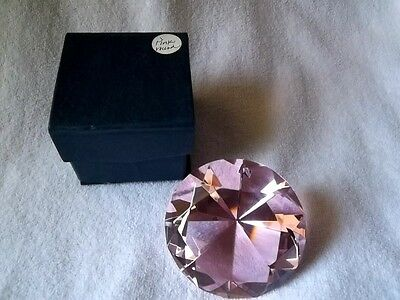 "Pink Glass Diamond Shaped Paper Weight / 3"" Diameter, 2"" Tall / New In Box"