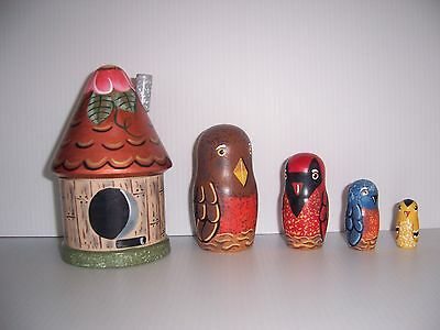 Hand painted Bird House and Birds stacking nesting doll set