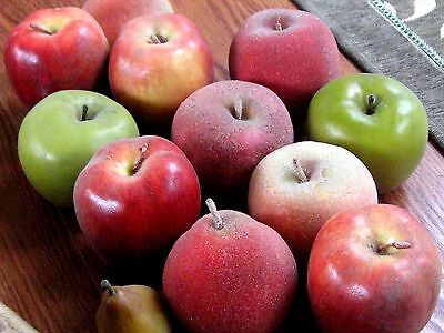 Vintage Artificial Fruit Apples and Pears (12) Flocked and Unflocked