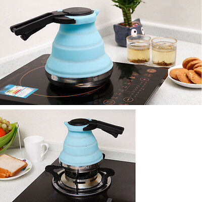 New Collapsible Kettle Camping Silicone Folding Pop-Up Gas Stove Hob Water Pot