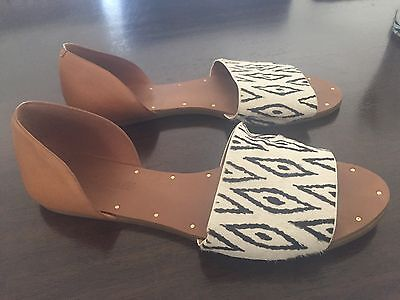 Madewell Thea Tan Leather and Calf hair Diamond Ikat Sandals size 7.5
