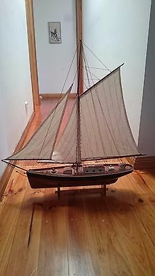 Hand Crafted Vintage Wooden Sail Boat Ship Model Home Display -(broken piece)