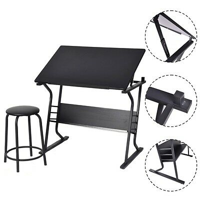Tiltable Tabletop Drawing Board Table Art Craft Drafting Easel Desk W/ Stool