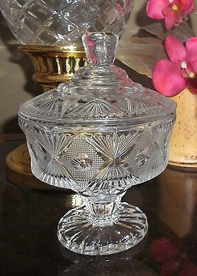 Candy Dish With Lid - Glass, No Yellowing - Lovely Design - Mint!