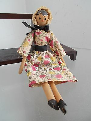 Vintage Victorian SHACKMAN Wooden Jointed Sm DOLL FOLK ART Style Painted Face
