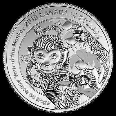 2016 Royal Canadian Mint Year Of The Monkey $10. 99.99% Fine Silver Coin