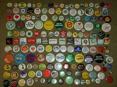 160+ 1970s 80s Mixed Vintage Pinback Button Lot Advertising humor ANTIQUE rare