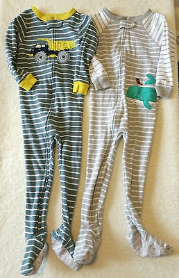 2 pairs toddler baby boys Carter's one piece cotton pajamas size 24 months