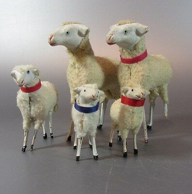 Vintage Wooly Sheep / wooden stick Legs PUTZ Germany lot of 5 Nativity Lamp 4¾""