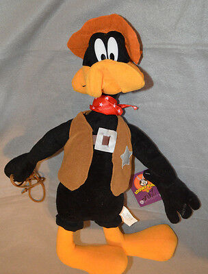"""Looney Tunes Plush Daffy Duck Cowboy Sheriff NANCO 2003 NEW WITH TAGS 20"""" (42)"""