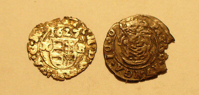 Hungary 2 silver medieval coins 'denar' 17th century - outstanding lot    #1545