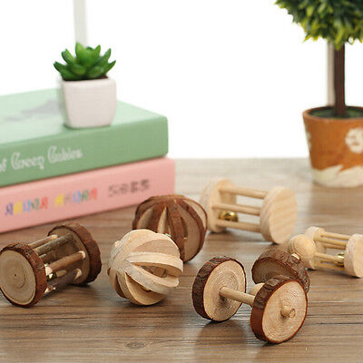 Natural Pine Dumbells Unicycle Bell Roller Chew Toy For Guinea Pig Rat Rabbit U7