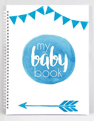 Baby Record Book - Boy - Blue Watercolour - Basic
