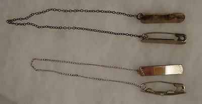 Vtg Lot of 2 Sets Sterling Diaper Pins Webster Bars with Chain Baby Silverplate