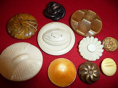 Vtg. Lg. Collectible Mostly Celluloid Buttons~Casein~Plastic/Unique Lot~Football